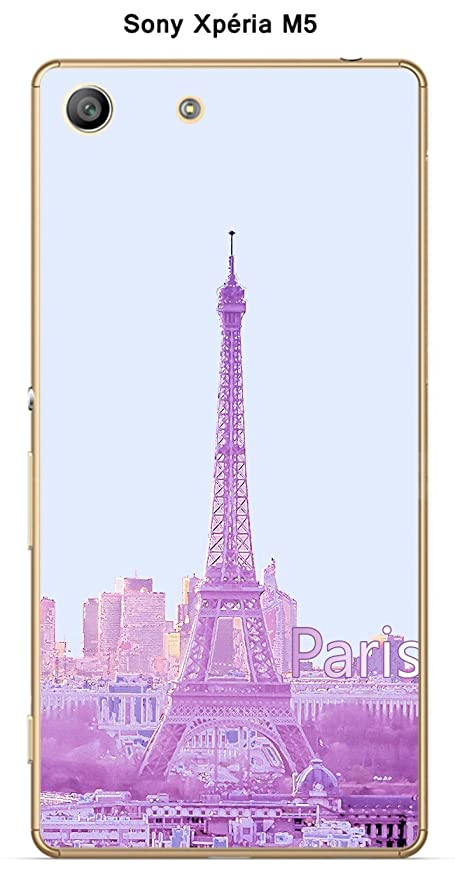 Carcasa Sony Xperia M5 diseño Paris rosa con nombre: Amazon ...
