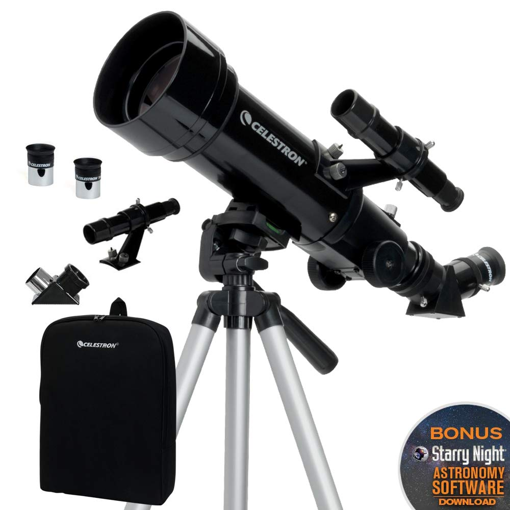 Celestron - 70mm Travel Scope - Portable Refractor Telescope - Fully-Coated Glass Optics - Ideal Telescope for Beginners - BONUS Astronomy Software Package by Celestron