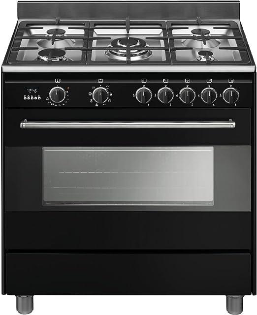 Smeg BG91N9 - Cocina (Cocina independiente, Negro, Botones, Giratorio, hierro fundido, Acero inoxidable, Frente, Electrónico): Amazon.es: Grandes electrodomésticos