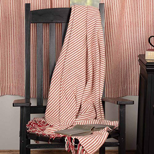 (Piper Classics Homespun Red Ticking Woven Throw Blanket, Oversized, 70