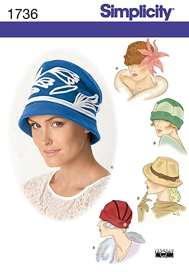 1930s Style Hats | Buy 30s Ladies Hats Misses Hats in Three Sizes A (Small-Medium-Large) Simplicity Creative Patterns 1736  $11.45 AT vintagedancer.com