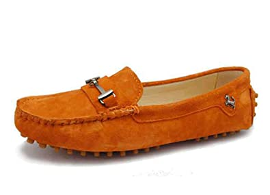 3bda486ce2b Image Unavailable. Image not available for. Colour  MINITOO Girls Ladies  Comfortable Slip-on Orange Suede Leather ...