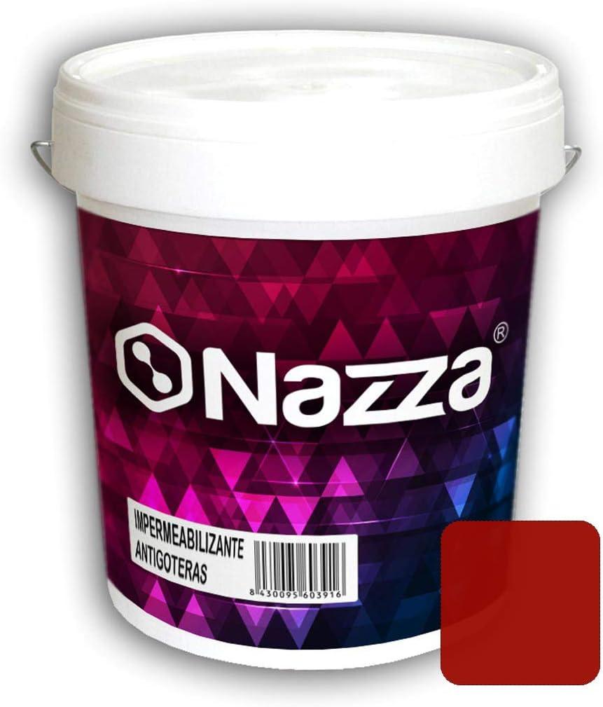 Pintura de Caucho Rojo Impermeabilizante - Pintura Antigoteras y Antihumedad para Terrazas y Azoteas Transitables - Color Rojo Ladrillo - 15 Litros