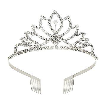 08d0de3f7 Amazon.com : Makone Womens Crystal Tiara Crown Headband for Wedding Prom  Bridal Birthday (style 1) : Beauty
