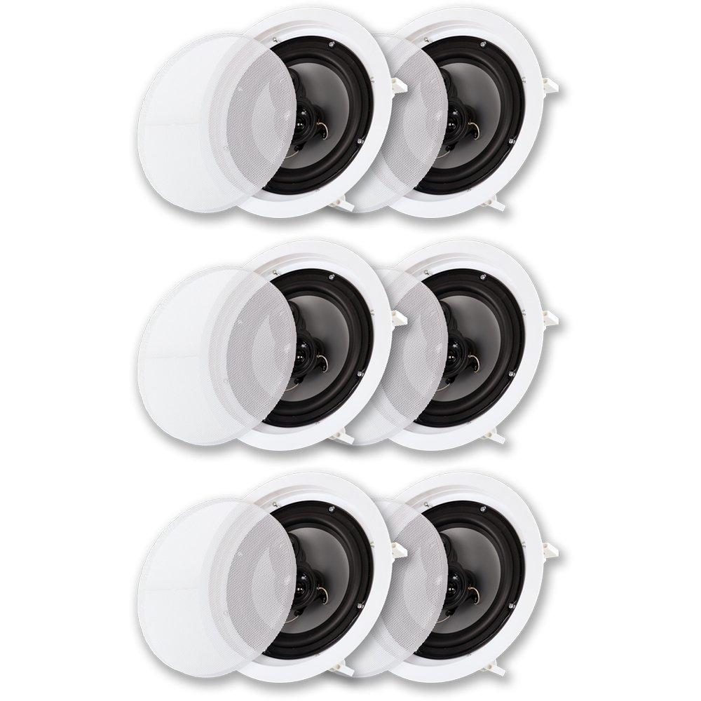 """Acoustic Audio CS-IC83 in Ceiling 8"""" Speaker 3 Pair Pack 3 Way Home Theater 2100 Watt"""