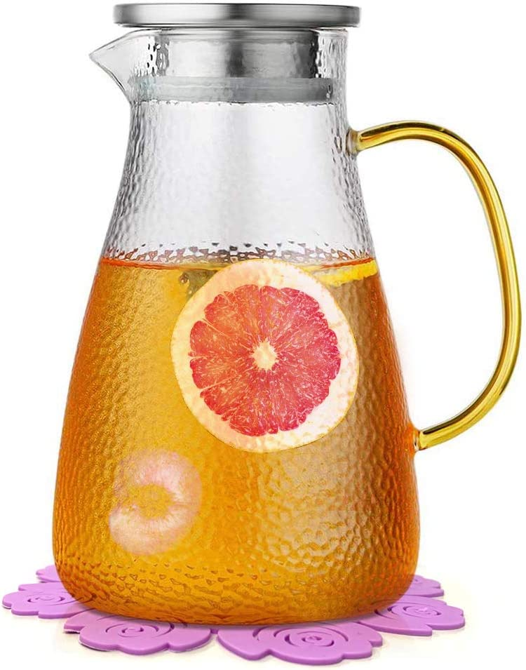 jarra de cristal con tapa 50 oz//1,5 litros jarra de zumo Jarra de agua tarro de agua de cristal y tapa de acero inoxidable y posavasos