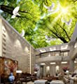 Nevso 3D Wallpaper Mural Sticker Custom 3D Mural Wallpaper European Style Ceiling Sky Tree 3D Wallpaper Living Room Home Decoration