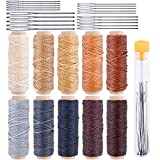 #4: 10 Colors Thread Cord with 20pcs Large-Eye Stitching Needles,330 Yards 150D Leather Sewing Waxed Thread Cord,Each of 33 Yards