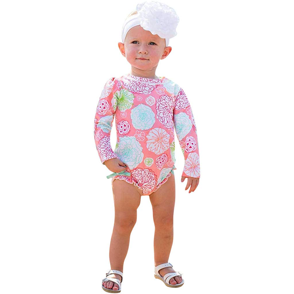 Moonker Infant Baby Girls Swimwear Sun Protective Rash Guard for 0-3 Years Old One Piece Floral Printed Bikini Swimsuit