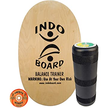 """INDO BOARD Original Balance Board with 6.5"""" Roller And 30"""" X 18"""" Non-Slip Deck – Natural Wood Design"""
