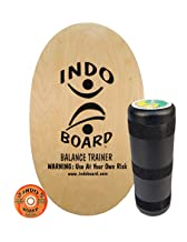 "INDO BOARD Original Balance Board with 6.5"" Roller And 30"" X 18"" Non-Slip Deck – Natural Wood Design"