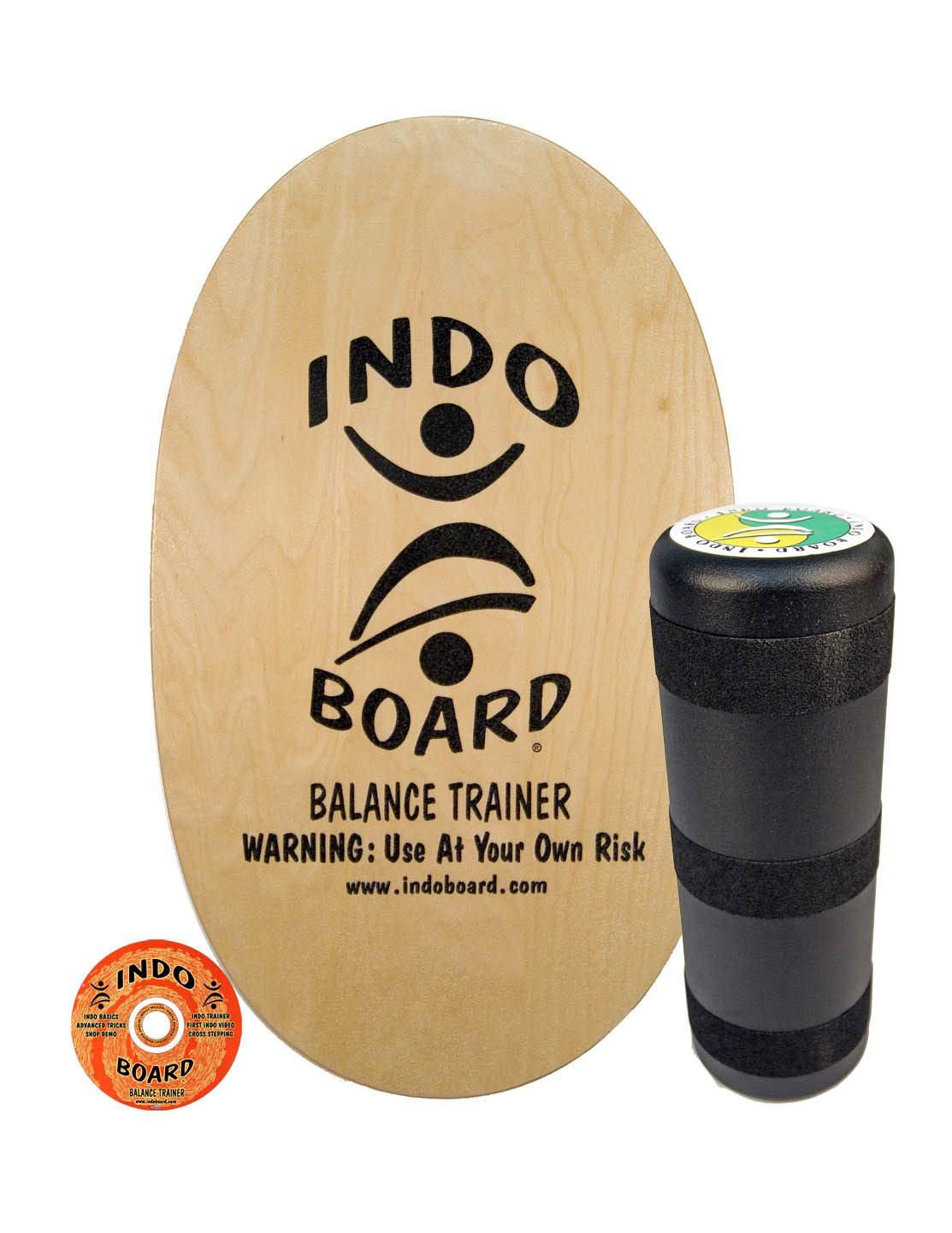 INDO BOARD Original Balance Board with 6.5'' Roller and 30'' X 18'' Non-Slip Deck - Natural Wood Design