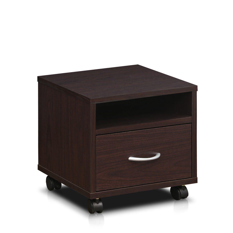 Furinno Indo FL-390EX Petite Under Desk Utility Cart with Casters, Espresso