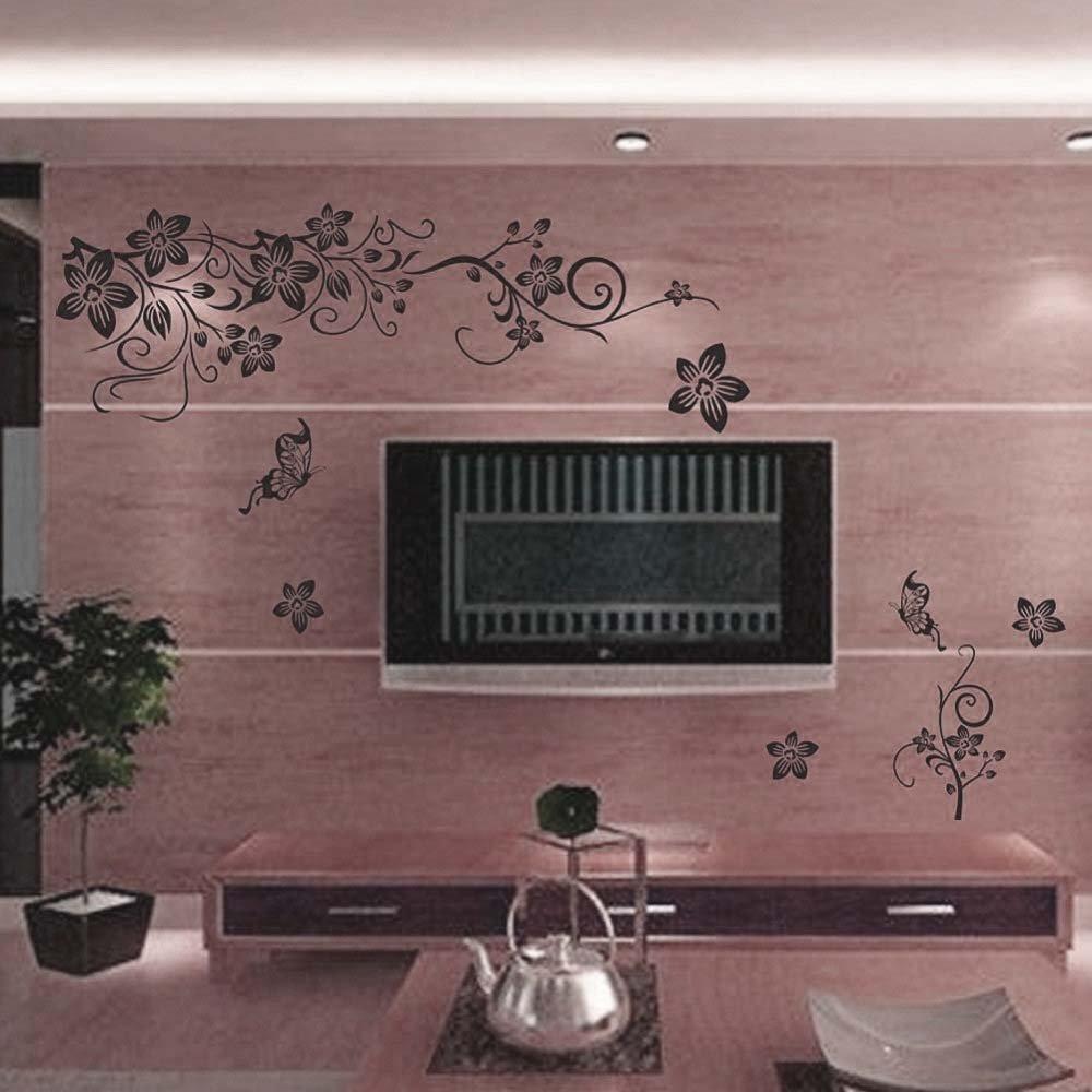 Brilliant Schöne Wandtattoos Dekoration Von Wandsticker Elegant Schwarze Schöne Blumen Pflanzen Motiv