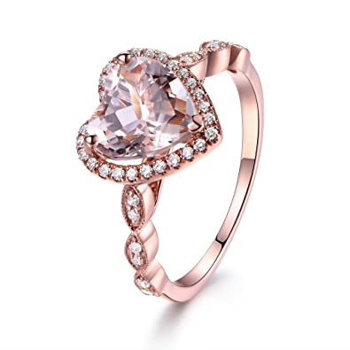 8mm Heart Shaped Cut Pink Morganite 14k Rose Gold Diamond Halo