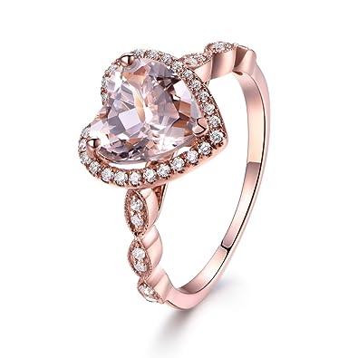 8mm Heart Shaped Cut Pink Morganite 14k Rose Gold Diamond Halo Marquise Engagement  Ring Wedding Band  f7f2ba698e