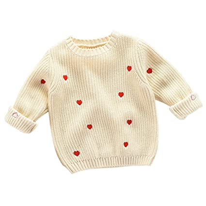 a3fa74a3c Gotd Infant Toddler Baby Girl Boy Clothes Winter Long Sleeve Heart Sweater  Knitted Pullovers Warm Coat