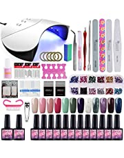 Saint-Acior 12PCS Gel Uñas Esmalte Semipermanente 8ml UV/LED Lámpara Secador de Uñas 36W Nail Dryer Capa Base Capa Superior Kit para Manicura