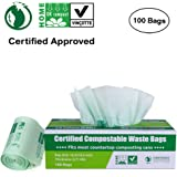 Primode 100% Compostable Bags 2.6 Gallon Food Scraps Yard Waste Bags, Extra Thick 0.71 Mil. ASTMD6400 Biodegradable Compost Bags Small Kitchen Trash Bags, Certified By BPI And VINCOTTE, (100)