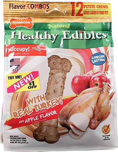 Nylabone 12 Count Healthy Edibles Turkey and Apple Flavored Dog Treat Bones, Petite