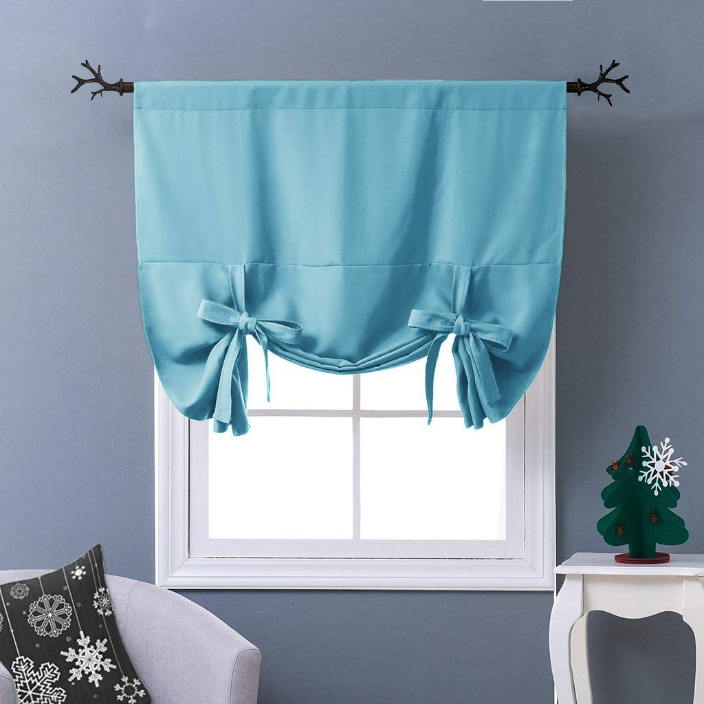 "NICETOWN Tie-Up Shade for Small Window - Window Treatment Energy Efficient Balloon Shade Curtain Kitchen Decor (Teal Blue=Light Blue, Rod Pocket Panel, 46"" W x 63"" L)"