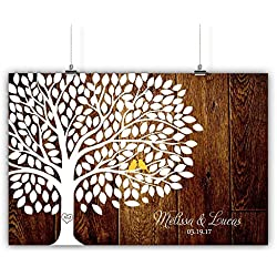 Personalized Wedding Tree Guest book Alternative Customized Poster, Print, Framed or Canvas, 200 Signatures Rustic Wood Background