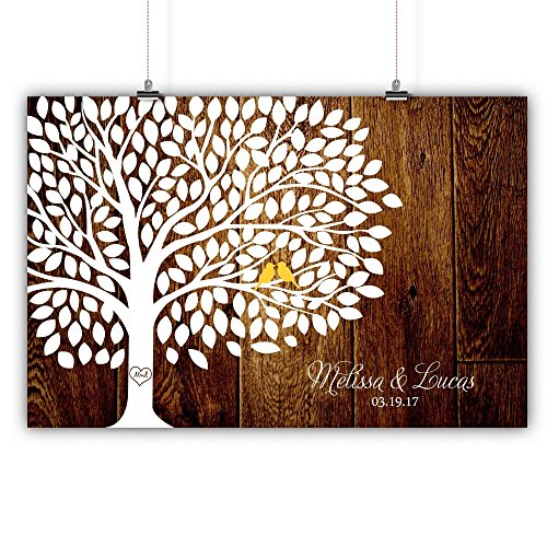 Personalized Wedding Tree Guest book Alternative Customized Poster, Print, Framed or Canvas, 200 Signatures Rustic Wood Background]()
