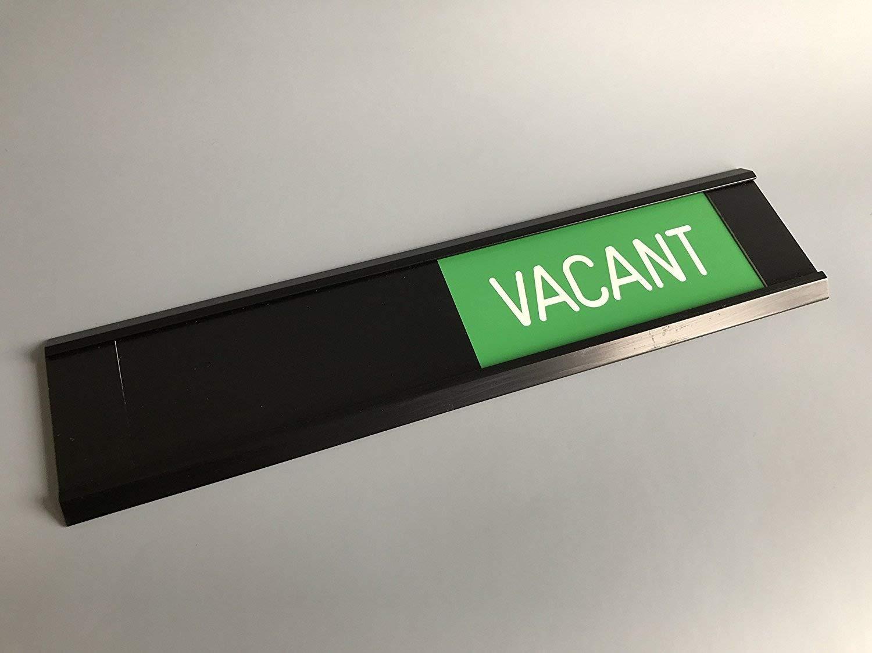 Indicador para puerta corredera, ocupado (rojo), libre (verde), deslizador negro, marco plateado