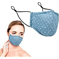 Reusable Handmade Cotton Face Mask | 3 Layers Comes with Nose Wire, Filter Pocket & Cord Adjusters | Handmade & Washable…