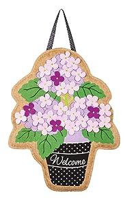 """Evergreen Flag Hydrangea Welcome Bouquet Hanging Outdoor-Safe Burlap Door Décor - 15""""W x 20""""H"""