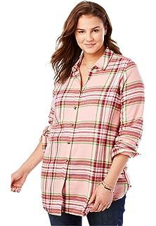 07290c0627cd3 Zanzea Womens Buffalo Plaid Button Down Shirt Flannel Long Sleeve ...
