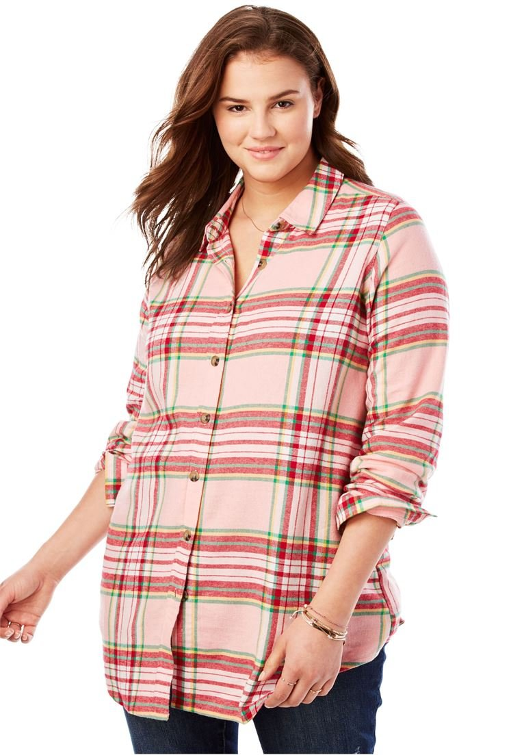 Womens Plus Size Red And Black Plaid Shirt