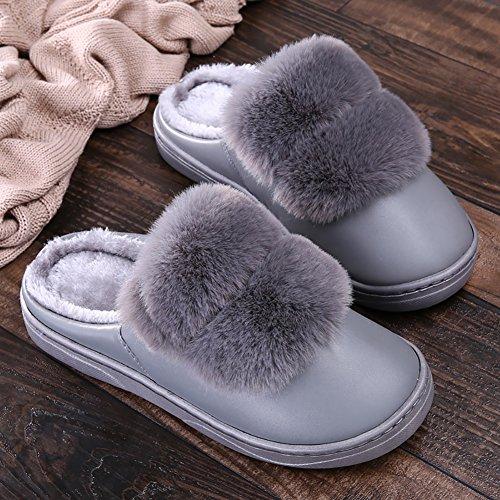 ICEGREY Herren Warme Hausschuhe Plüsch Kunstpelz Soft Sole Wärmehausschuhe Indoor Pantoffeln für Paare Grau 42 43