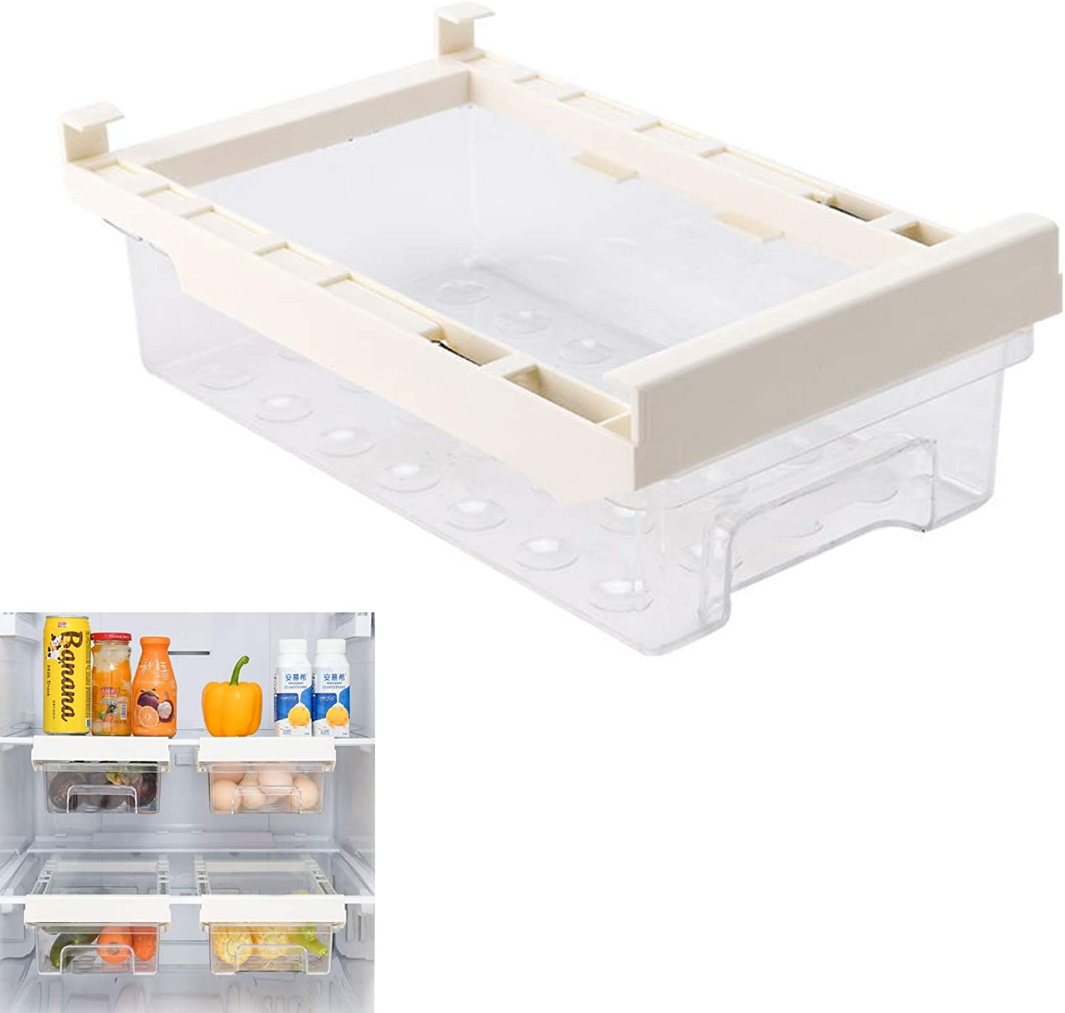 Diskary Fridge Drawer Organizer, Refrigerator Organizer Bins, Pull Out with Handle, Fridge Shelf Holder Storage Box, Clear Container for Food Drinks Eggs Fruit (Without Partition)