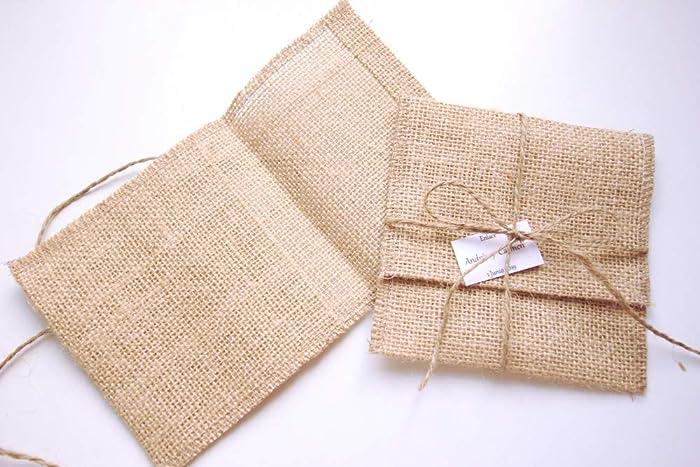 Sobres de yute con cordón y tarjeta personalizada pack de 10 ...