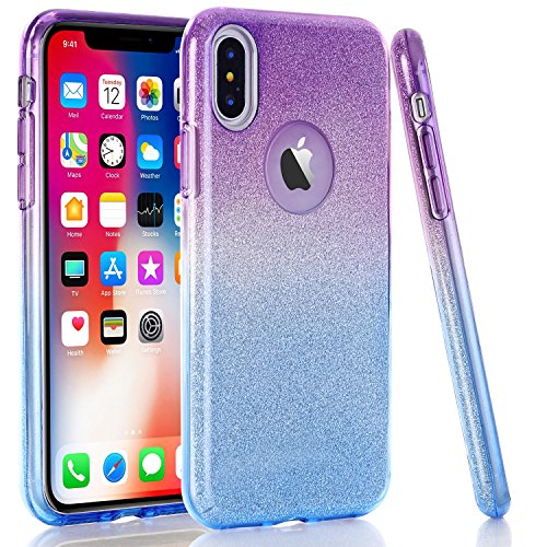 WALAGO iPhone X Case, Blue Purple Gradient Bling Glitter Sparkle Three Layer Shockproof Soft TPU Outer Cover + Hard PC Inner Protective Shell Skin for Apple iPhone X/iPhone Xs
