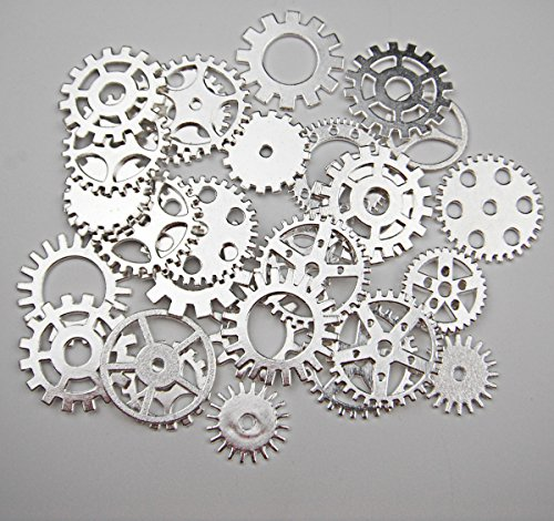 (ALL in ONE 30pcs Steampunk Gear Wheel Charms Cog Connectors Pendants Jewelry Finding DIY Craft (SILVER))