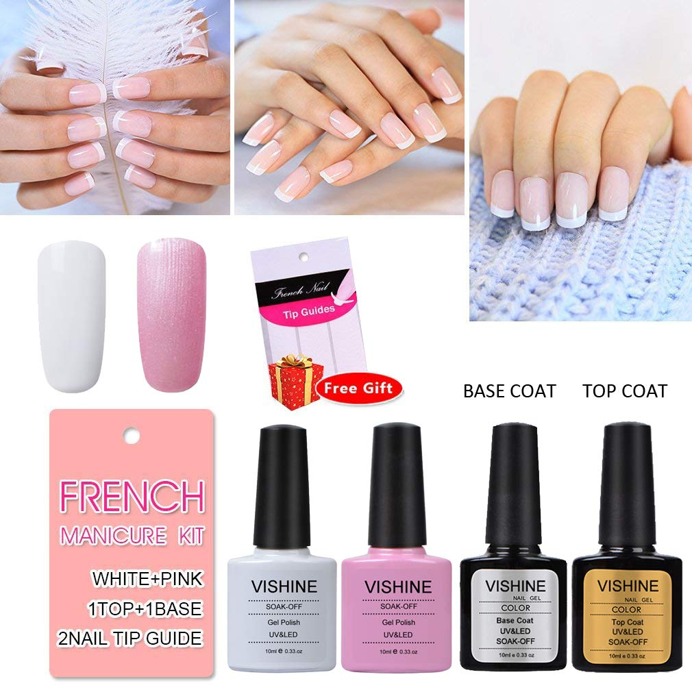 Amazon.com : Vishine French Manicure Kit Base Top Coat Color White ...