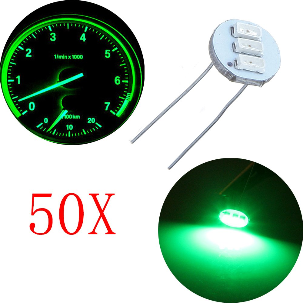 cciyu 50Pcs 4.7mm-12v Car Green Mini Bulbs Lamps Indicator Cluster Speedometer Backlight Lighting Replacement fit for GM GMC