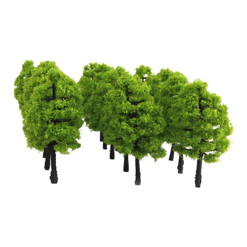 Plastic Model Trees Track Landscape 1: 100 20 Pieces Dark Green NaiCasy