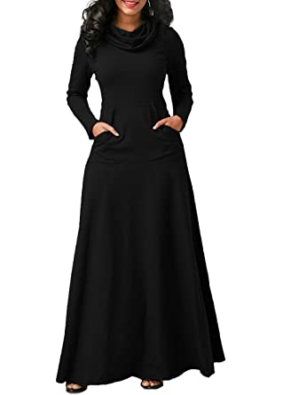 68f7e4fbb13f Amazon.com: Womens Fall Winter Dress Cowl Neck Long Sleeve Swing Loose Maxi  Dresses With Pockets: Clothing