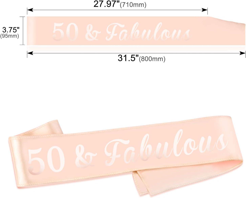 HOWAF Oro Rosa Compleanno Fascia 50 /& Fabulous Fusciacca Gadget per Decorazioni Festa di Compleanno per Donna 50 Anni Compleanno Regalo