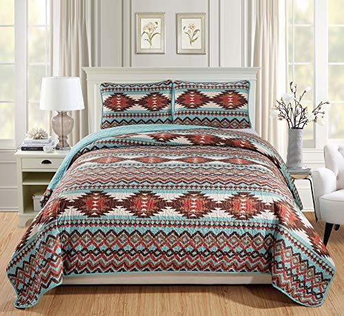 Rugs 4 Less Rustic Southwestern King/Cal King Quilt Set Native American Tribal Bedspread California King/King Utah Turquoise Quilt