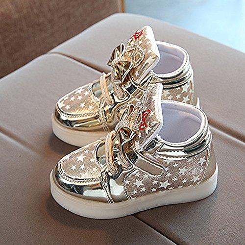 JIANGFU Kinder Leichte Schuhe, Kleinkind-Baby-Art- und Weisesnowers-Stern-Leuchtendes Kind-Zufällige Bunte Helle Schuhe 22
