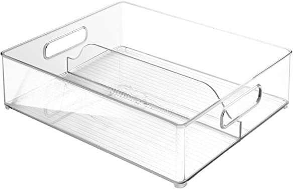 'InterDesign Refrigerator and Freezer Divided Storage Container - Organizer Bin for Kitchen, Clear' from the web at 'https://images-na.ssl-images-amazon.com/images/I/61a4HrEys3L._AC_SY375_.jpg'