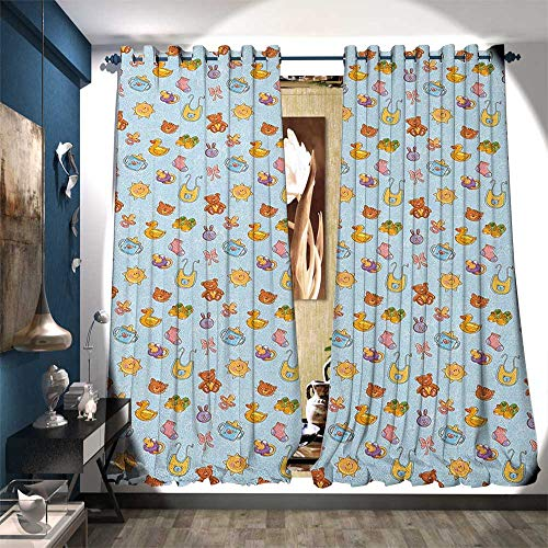 - Thermal Insulating Blackout Curtain Newborn Sun Teddy Bear Ribbon Feeder Pacifier Chick Kitty Cat Design Drapes for Living Room W108 x L108 Pale Blue Cinnamon Apricot