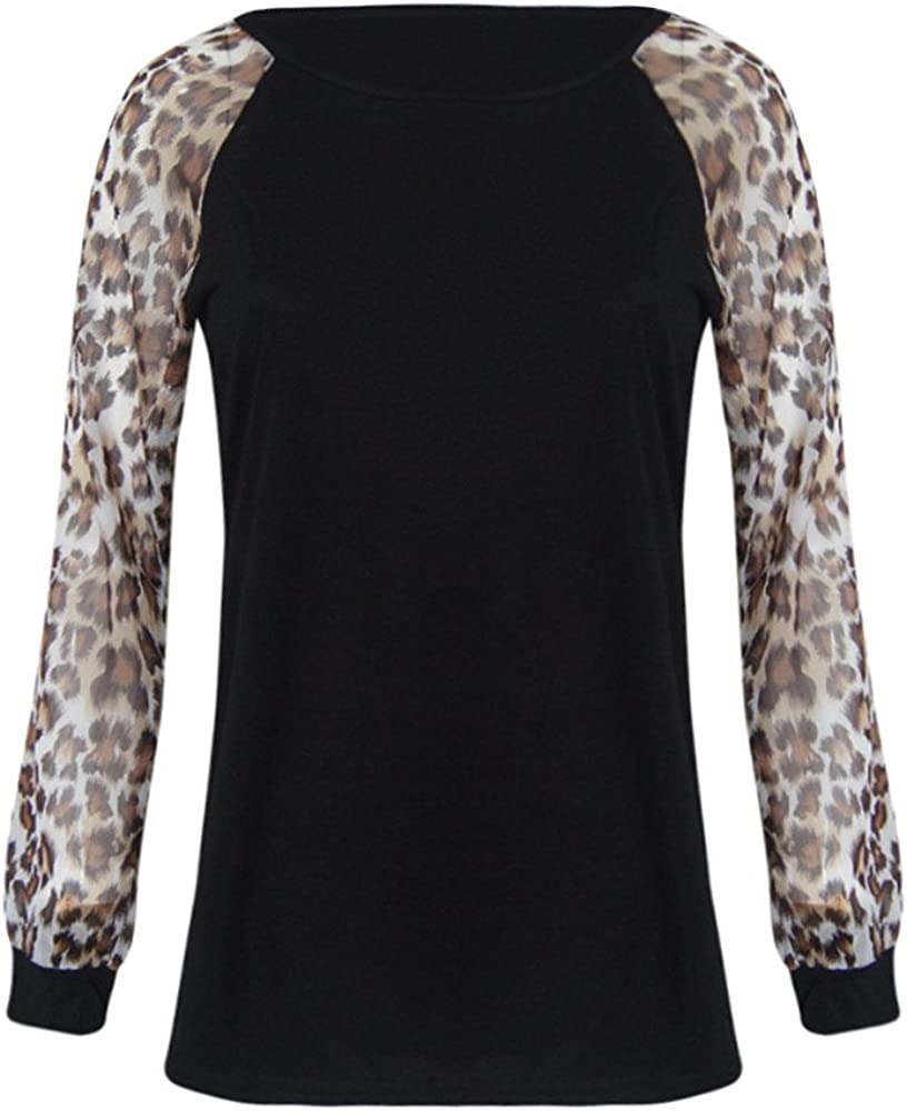 Womens Plus Size Leopard V-Neck Tops Blouse Wrap Casual Oversized T-Shirts Tee