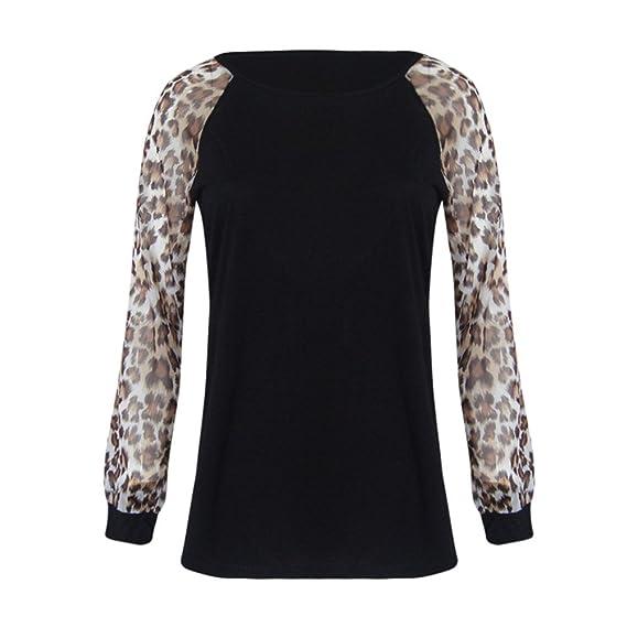 Moda Blusas para Mujer Casual O Cuello Leopardo Sudaderas Ropa en Oferta Camisetas Manga Larga Tops