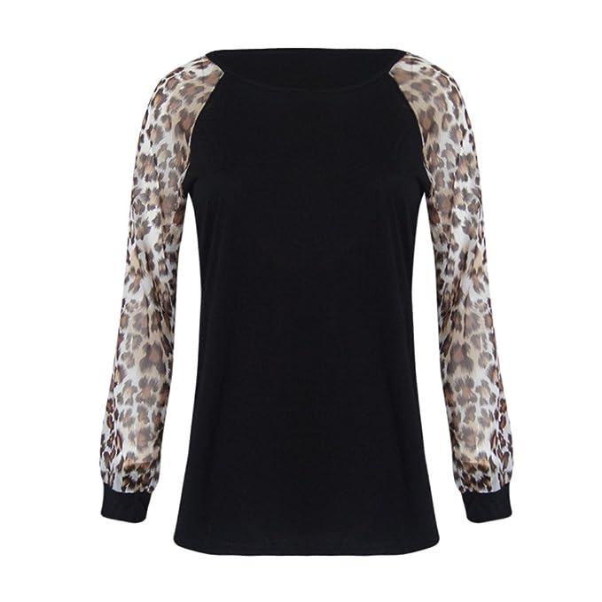 Moda Blusas para Mujer Casual O Cuello Leopardo Sudaderas Ropa en Oferta Camisetas Manga Larga Tops de Fiesta Camiseta Invierno de Mujer otoño riou: ...