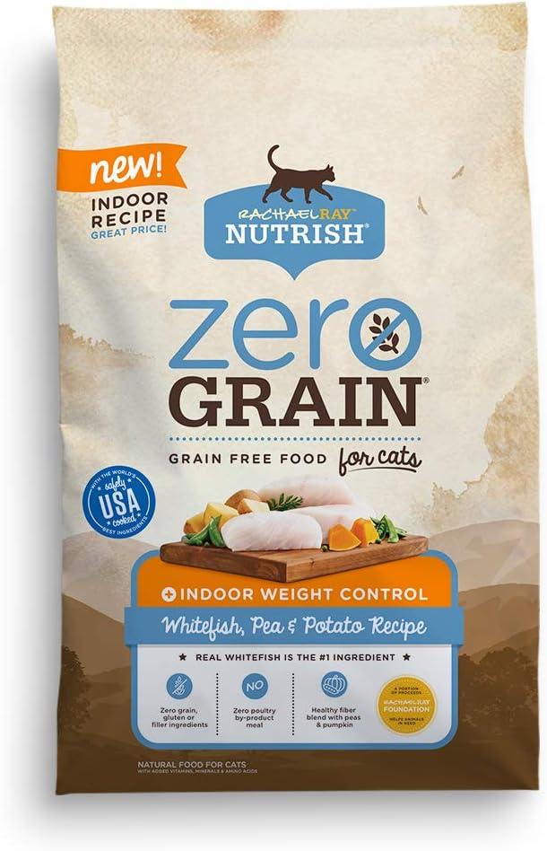 Rachael Ray Nutrish Zero Grain Natural Indoor Dry Cat Food, Whitefish, Pea & Potato Recipe, 3 Pounds, Grain Free
